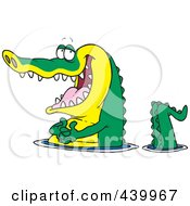 Royalty Free RF Clip Art Illustration Of A Cartoon Happy Gator Wading In Water by toonaday