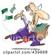 Royalty Free RF Clip Art Illustration Of A Cartoon Charitable Rich Businessman Throwing Money by Ron Leishman
