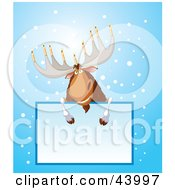 Clipart Illustration Of A Hanukkah Moose With Menorah Antlers Leaning Over A Text Box by Pushkin