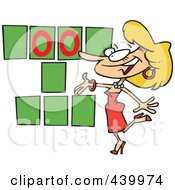 Royalty Free RF Clip Art Illustration Of A Cartoon Game Show Hostess Presenting Blank Spaces