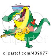 Royalty Free RF Clip Art Illustration Of A Cartoon Gator Guitarist by toonaday