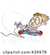 Royalty Free RF Clip Art Illustration Of A Cartoon Boy Playing A Video Game With A Controller by toonaday