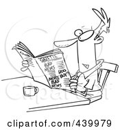 Royalty Free RF Clip Art Illustration Of A Cartoon Black And White Outline Design Of A Businessman Reading The Gazette