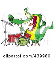 Royalty Free RF Clip Art Illustration Of A Cartoon Drummer Gator by toonaday
