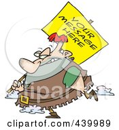 Royalty Free RF Clip Art Illustration Of A Cartoon Giant Carrying A Sign Over His Shoulder by toonaday