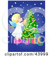 Clipart Illustration Of A Cute Angle Putting A Star On A Christmas Tree by Pushkin