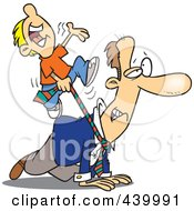Royalty Free RF Clip Art Illustration Of A Cartoon Boy Riding On His Dads Back