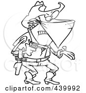 Royalty Free RF Clip Art Illustration Of A Cartoon Black And White Outline Design Of An Outlaw Cowboy Demanding