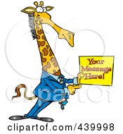 Royalty Free RF Clip Art Illustration Of A Cartoon Giraffe Businessman Holding A Sign With Sample Text by toonaday
