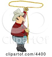Cowboy Practicing With A Lariat Rope Clipart by djart