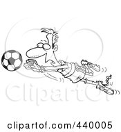 Royalty Free RF Clip Art Illustration Of A Cartoon Black And White Outline Design Of A Soccer Goalie Leaping Towards A Ball