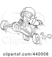 Royalty Free RF Clip Art Illustration Of A Cartoon Black And White Outline Design Of A Boy Catching Air On A Go Cart