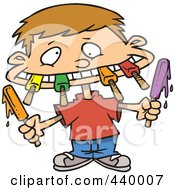 Cartoon Boy Eating A Variety Of Popsicles