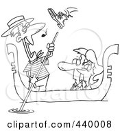 Royalty Free RF Clip Art Illustration Of A Cartoon Black And White Outline Design Of A Shoe Flying At A Gondolier Singing To A Couple by toonaday
