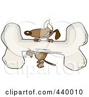Royalty Free RF Clip Art Illustration Of A Cartoon Dog Climbing A Giant Bone