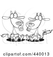 Royalty Free RF Clip Art Illustration Of A Cartoon Black And White Outline Design Of A Pair Of Baby Goats