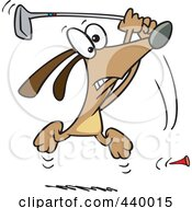 Royalty Free RF Clip Art Illustration Of A Cartoon Golfing Dog
