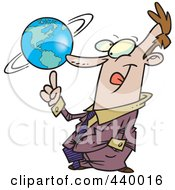 Royalty Free RF Clip Art Illustration Of A Cartoon Businessman Spinning A Globe