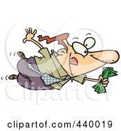 Royalty Free RF Clip Art Illustration Of A Cartoon Businessman Flying Towards A Good Deal