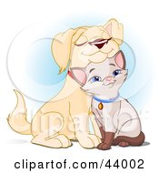 Clipart Illustration Of An Adorable Yellow Lab Puppy Cuddling With A Siamese Kitten