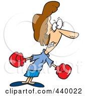 Royalty Free RF Clip Art Illustration Of A Cartoon Businesswoman Boxing