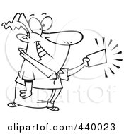 Royalty Free RF Clip Art Illustration Of A Cartoon Black And White Outline Design Of A Businessman Holding A Golden Ticket