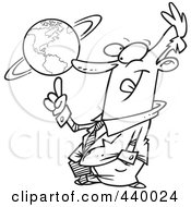 Royalty Free RF Clip Art Illustration Of A Cartoon Black And White Outline Design Of A Businessman Spinning A Globe