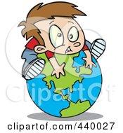 Royalty Free RF Clip Art Illustration Of A Cartoon Boy On Top Of A Globe