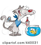 Royalty Free RF Clip Art Illustration Of A Cartoon Cat Seasoning A Goldfish With Ketchup by toonaday