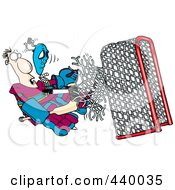 Royalty Free RF Clip Art Illustration Of A Cartoon Puck Knocking A Goalie Through The Net