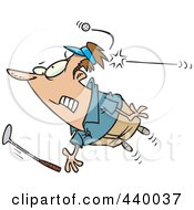 Royalty Free RF Clip Art Illustration Of A Cartoon Male Golfer Getting Hit With A Ball by toonaday