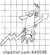 Cartoon Black And White Outline Design Of A Businessman Stuck On An Upwards Graph