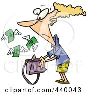Royalty Free RF Clip Art Illustration Of A Cartoon Money Flying Out Of A Womans Purse by toonaday