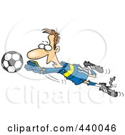Royalty Free RF Clip Art Illustration Of A Cartoon Soccer Goalie Leaping Towards A Ball