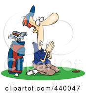 Royalty Free RF Clip Art Illustration Of A Cartoon Male Golfer Praying by toonaday #COLLC440047-0008