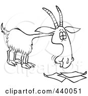 Royalty Free RF Clip Art Illustration Of A Cartoon Black And White Outline Design Of A Goat Eating Paperwork by toonaday