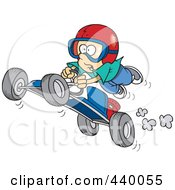 Royalty Free RF Clip Art Illustration Of A Cartoon Boy Catching Air On A Go Cart