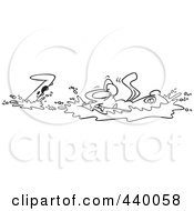 Royalty Free RF Clip Art Illustration Of A Cartoon Black And White Outline Design Of An Alligator Gliding Through Water