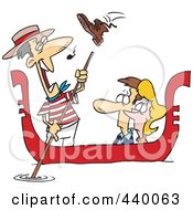 Cartoon Shoe Flying At A Gondolier Singing To A Couple