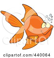 Royalty Free RF Clip Art Illustration Of A Cartoon Goldfish With Bubbles by toonaday
