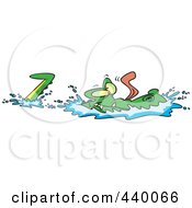 Royalty Free RF Clip Art Illustration Of A Cartoon Alligator Gliding Through Water by toonaday