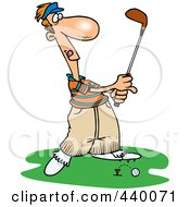 Royalty Free RF Clip Art Illustration Of A Cartoon Male Golfer Barely Knocking The Ball Off The Tee