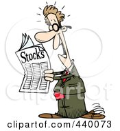 Royalty Free RF Clip Art Illustration Of A Cartoon Happy Man Reading The Stocks Pages