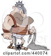 Cartoon Gladiator Holding A Net And Flail
