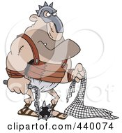 Royalty Free RF Clip Art Illustration Of A Cartoon Gladiator Holding A Net And Flail