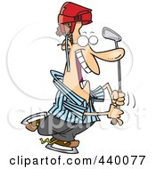 Cartoon Male Golfer Referee Wearing A Helmet