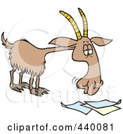 Royalty Free RF Clip Art Illustration Of A Cartoon Goat Eating Paperwork by toonaday