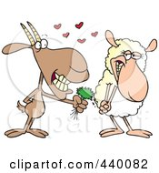 Royalty Free RF Clip Art Illustration Of A Cartoon Goat Giving A Sheep Grass by toonaday
