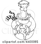 Royalty Free RF Clip Art Illustration Of A Cartoon Black And White Outline Design Of A Businessman Hugging A Globe