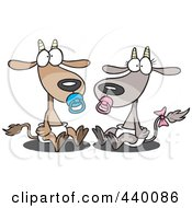 Royalty Free RF Clip Art Illustration Of A Cartoon Pair Of Baby Goats by toonaday